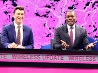 Saturday Night Live Weekend Update's Colin Jost (left) and Michael Che opened T-Mobile's Un-carrier Next event at CES with their take on the wireless industry on Thursday, Jan. 5, 2017, in Las Vegas. (Bizuayehu Tesfaye/AP Images for T-Mobile)
