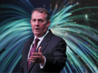 Britain's International Trade Secretary Liam Fox gives a speech on Brexit and trade in London on February 27, 2018. Fox, a leading advocate of Brexit in the 2016 EU referendum, made a major speech about the advantages of pursuing an independent trade policy post-Brexit. This speech, one of a number …
