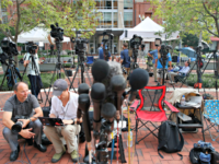 Trump Russia Probe Manafort Members of the media as set up outside of federal court as jury deliberations are set to begin in the trial of former Trump campaign chairman Paul Manafort, in Alexandria, Va., Thursday, Aug. 16, 2018.