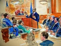 This courtroom sketch depicts Paul Manafort, seated right row second from right, together with his lawyers, the jury, seated left, and the U.S. District Court Judge T.S. Ellis III, back center, listening to Assistant U.S. Attorney Uzo Asonye, standing, during opening arguments in the trial of President Donald Trump's former …