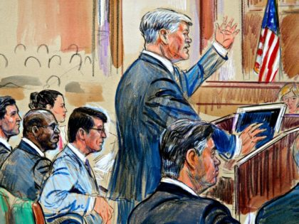 This courtroom sketch depicts defense lawyer Kevin Downing asking questions of Rick Gates, as former Donald Trump campaign chairman Paul Manafort, bottom right, listens during Manafort's trial on bank fraud and tax evasion at federal court in Alexandria, Va., Tuesday, Aug. 7, 2018.