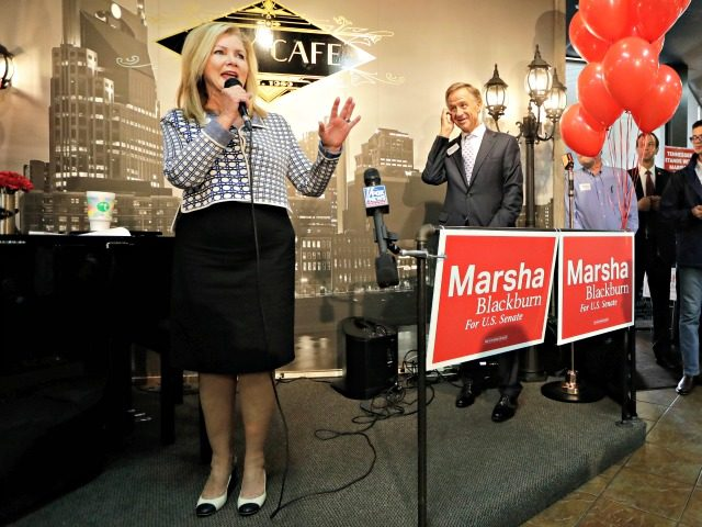 In this Aug. 2, 2018 photo, Republican U.S. Rep. Marsha Blackburn campaigns in Brentwood, Tenn.