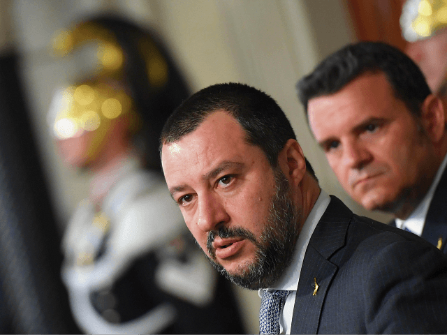 Matteo Salvini, leader of the far-right party 'Lega' speaks to journalists after a meeting with Italian President Sergio Mattarella on the second day of consultations of political parties, on April 5, 2018 at the Quirinale palace in Rome. Italian President Sergio Mattarella begins key talks with parties on forming a …