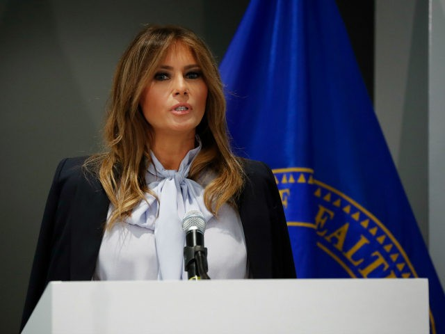 First lady Melania Trump speaks as she attends the 6th Federal Partners in Bullying Prevention (FPBP) Summit at Health and Human Service in Rockville, Md., Monday, Aug. 20, 2018. (AP Photo/Pablo Martinez Monsivais)