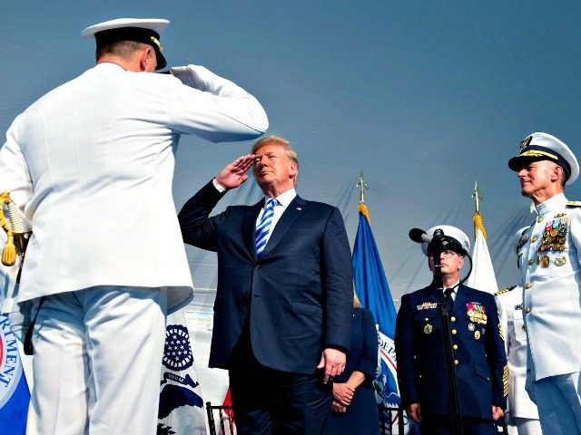 President Trump salutes during a Change of Command ceremony at U.S. Coast Guard Headquarters in Washington, D.C., on June 1.