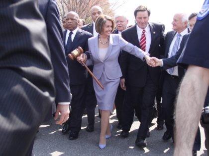 Nancy Pelosi gavel (Lauren Victoria Burke / Associated Press)