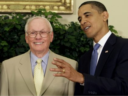 President Barack Obama talks with Apollo astronaut Neil Armstrong in the Oval Office of the White House in Washington, Monday, July 20, 2009, on the 40th anniversary of the Apollo 11 lunar landing. (AP Photo/Alex Brandon)