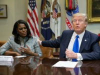 WASHINGTON, DC - FEBRUARY 1: (AFP OUT) President Donald Trump holds an African American History Month listening session attended by Director of Communications for the Office of Public Liaison Omarosa Manigault (L) and other officials in the Roosevelt Room of the White House on February 1, 2017 in Washington, DC. …