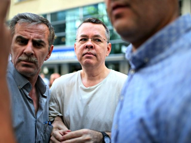 In this July 25, 2018 photo, Andrew Craig Brunson, an evangelical pastor from Black Mountain, North Carolina, arrives at his house in Izmir, Turkey. Brunson, who had been jailed in Turkey for more than one and a half years on terror and espionage charges was released and will be put …