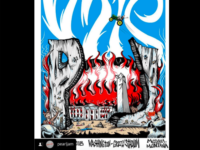 Pearl Jam poster illustrates Donald Trump's skeleton surrounded in flames