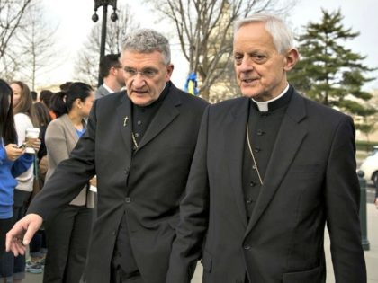 David Zubik (left), bishop of the Diocese of Pittsburgh, and Cardinal Donald Wuerl, archbishop of Washington, arrive at the Supreme Court in Washington, D.C. on Wednesday, March 23, 2016. Zubik was the lead plantiff in a case brought by religious groups over contraception coverage.