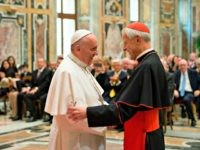 In this April 17, 2015, file photo, Pope Francis, left, talks with Papal Foundation Chairman Cardinal Donald Wuerl, Archbishop of Washington, D.C., during a meeting with members of the Papal Foundation at the Vatican. On Tuesday, Aug. 14, 2018, a Pennsylvania grand jury accused Cardinal Wuerl of helping to protect …