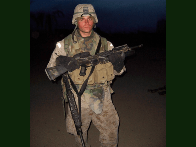 Private Sean Stokes carries home his weapon and the weapon of his fallen best friend. Stokes single-handedly killed nine terrorists in Fallujah in November 2004.