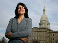 FILE - In this Thursday, Nov. 6, 2008, file photo, Rashida Tlaib, a Democrat, is photographed outside the Michigan Capitol in Lansing, Mich. In the primary election Tuesday, Aug. 7, 2018, Democrats pick former Michigan state Rep. Rashida Tlaib to run unopposed for the congressional seat that former Rep. John …