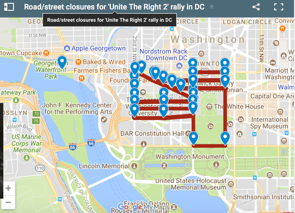 Road closures map for Unite the Right 2 rally