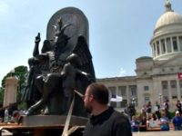 Satanic Temple Uses Goat-Headed Statue to Protest Ten Commandments Monument