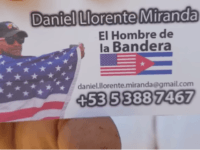 Daniel Llorente, Cuban dissident, uses U.S. flag on business card