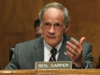 Sen. Thomas Carper, D-Del., asks a question of Homeland Security Secretary Kirstjen Nielsen as she testifies to the Senate Homeland Security Committee, Tuesday, May 15, 2018, on Capitol Hill in Washington. (AP Photo/Jacquelyn Martin)