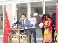 The Ambassador of the People's Republic of China to Ghana, Shi Ting Wang, speaks at an event in Accra, Ghana, in July, pledging his government's support for development in the African country. (Credit: Ghana Ministry of Foreign Affairs.)