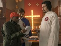 Spike Lee, Topher Grace, and Adam Driver in BlacKkKlansman (Focus Features, 2018)