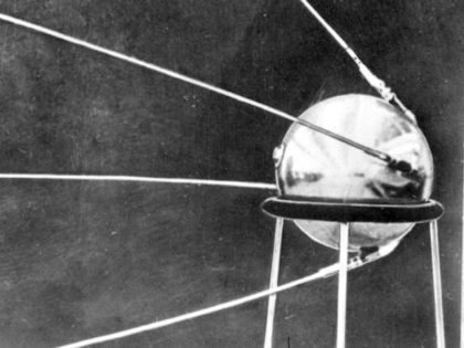 The first official picture of the Soviet satellite Sputnik 1