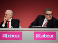 BRIGHTON, ENGLAND - SEPTEMBER 24: Labour Party leader Jeremy Corbyn (L) sits with Deputy Leader Tom Watson in the main hall on the first day of the Labour Party conference on September 24, 2017 in Brighton, England. The annual Labour Party conference runs from 24-27 September. (Photo by Leon Neal/Getty …