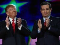 Republican presidential candidates Donald Trump (L) and Sen. Ted Cruz (R-TX) applaud as they are introduced during the CNN presidential debate at The Venetian Las Vegas on December 15, 2015 in Las Vegas, Nevada. Thirteen Republican presidential candidates are participating in the fifth set of Republican presidential debates. (Photo by …
