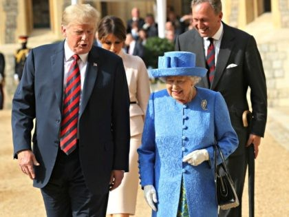 Britain's Queen Elizabeth II, right and US President of the United States, Donald Trump walk from the Quadrangle after inspecting the Guard of Honour, during the president's visit to Windsor Castle, Friday, July 13, 2018 in Windsor, England. The monarch welcomed the American president in the courtyard of the royal …