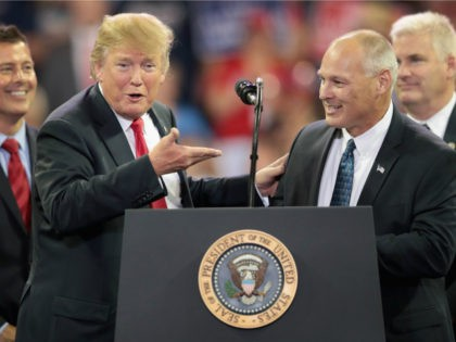 President Donald Trump introduces Pete Stauber, Republican candiate for the U.S. House in Minnesotas 8th District, during a campaign rally at the Amsoil Arena on June 20, 2018 in Duluth Minnesota. Earlier today President Trump signed an executive order to keep undocumented families together as outcry continued to grow over …