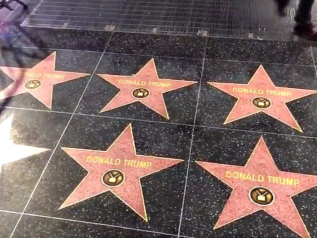 Street Artist Covers Hollywood Walk of Fame with 50 Trump Stars