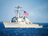 In this March 22, 2017, photo provided by U.S. Navy, U.S. Navy destroyer USS Stethem transits waters east of the Korean Peninsula during a photo exercise including the U.S. Navy and South Korean Navy during the Operation Foal Eagle. China's foreign ministry is strongly protesting the U.S. Navy destroyer USS …