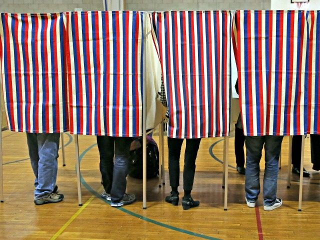 Voters at a polling station in Cambridge, Mass.