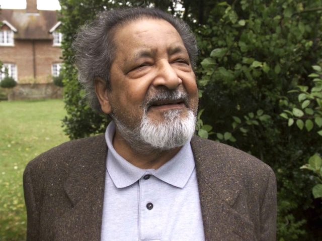 This 2001 file photo shows British author V.S. Naipaul in Salisbury, England. The Trinidad-born Nobel laureate whose celebrated writing and brittle, provocative personality drew admiration and revulsion in equal measures, died Saturday, Aug. 11, 2018, at his London home, his family said. He was 85. (Chris Ison/PA via AP)