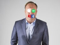 InfoWars host Alex Jones, with eyes and mouth covered by the logos of Apple, Spotify, YouTube, and Facebook.