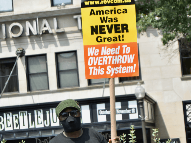 Antifa protesters gathered at Freedom Plaza in Washington, DC, in opposition to the Unite the Right 2 protest on the one year anniversary of its Charlottesville, Virginia, rally last summer. (Penny Starr/Breitbart News).