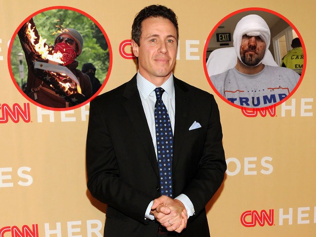 "Chris Cuomo announced Monday night that CNN will not condemn but instead justify political violence against anyone it defines as ""bigots"" -- which, according to the network's editorial tone over the past two years, signals open season on all Trump supporters for violent activists like Antifa and the Black Bloc."