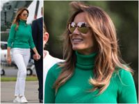 Fashion Notes: Melania Trump Glows in Green Ralph Lauren Sweater, Sneakers