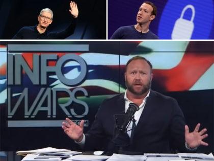 InfoWars host Alex Jones, Apple CEO Tim Cook, and Facebook CEO Mark Zuckerberg.