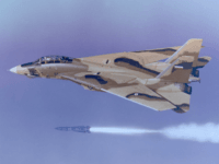 Undated handout photo provided by Northrup Grumman shows an Iranian F-14 firing a Phoenix missile. President Bush signed legislation Monday, Jan. 28, 2008, banning the Pentagon from selling leftover F-14 fighter jet parts, a move prompted by security gaps that made the military's surplus auction a prime place for Iran …