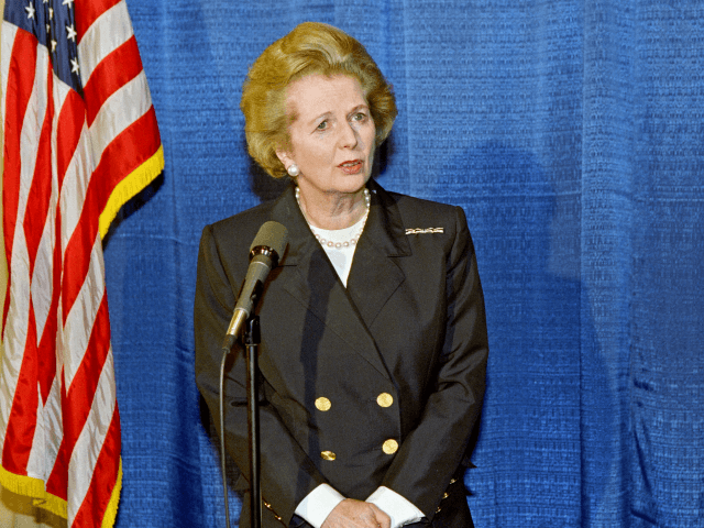 Former British Prime Minister Margaret Thatcher delivers a press conference in Beverly Hill, on February 07, 1991. (Photo credit should read HAL GARB/AFP/Getty Images)