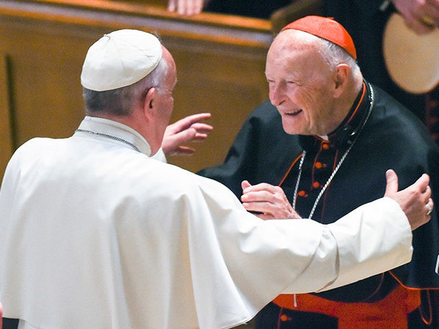 FILE - In this Sept. 23, 2015 file photo, Pope Francis reaches out to hug Cardinal Archbishop emeritus Theodore McCarrick after the Midday Prayer of the Divine with more than 300 U.S. Bishops at the Cathedral of St. Matthew the Apostle in Washington. Seton Hall University has begun an investigation …