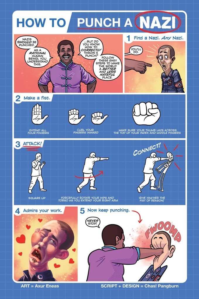 "a guide to ""punching Nazis"" from a kickstarter comic called ""Punch all Nazis"""