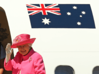 Queen Elizabeth II waves as she boards her flight at Melbourne Airport on October 26, 2011 in Melbourne, Australia. The Queen and Duke of Edinburgh are on a 10-day visit to Australia and will travel to Canberra, Brisbane, and Melbourne before heading to Perth for the Commonwealth Heads of Government …