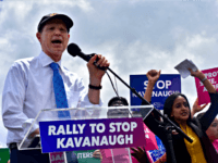 Sen. Ron Wyden (D-OR) spoke at a rally on Wednesday on the grounds of the U.S. Capitol put on by left-wing groups like MoveOn to oppose President Donald Trump's Supreme Court nominee Judge Brett Kavanaugh.