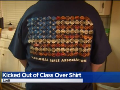 A history teacher in California'sLodi Unified School District sent one student to the principal's office and lectured another one on the evils of guns, all because the two wearing an NRA t-shirt.