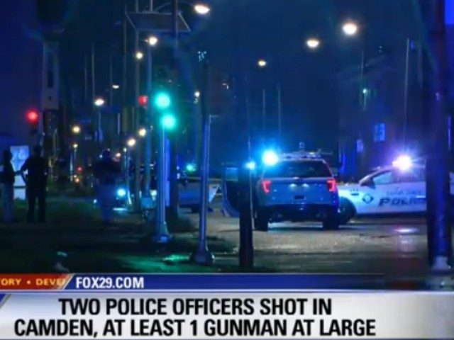 Two officers were ambushed Tuesday night in Camden, New Jersey, and shot while sitting in their police car at a red light.