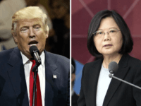"FILE - This combination of two photos shows U.S. President-elect Donald Trump, left, speaking during a ""USA Thank You"" tour event in Cincinatti Thursday, Dec. 1, 2016, and Taiwan's President Tsai Ing-wen, delivering a speech during National Day celebrations in Taipei, Taiwan, Monday, Oct. 10, 2016. An official Chinese newspaper …"