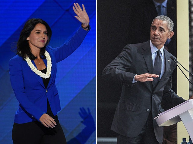 Rep. Tulsi Gabbard (D-HI) and former president Barack Obama.