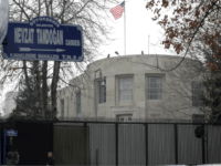 The sign of Nevzat Tandogan Street where the U.S. Embassy is located in Ankara, Turkey, Thursday, Feb. 15, 2018, hours before US Secretary of State Rex Tillerson starts trip to Turkey amid growing tensions between the two NATO allies. Ankara's Mayor Mustafa Tuna has announced Monday plans to change Nevzat …
