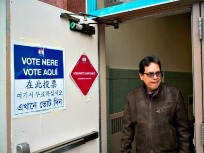 A voter leaves a polling place in New York.